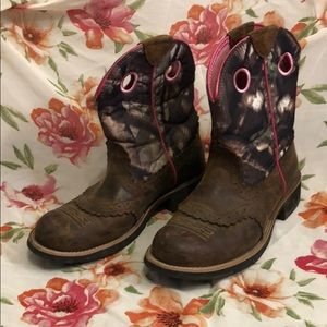 Ariat Pink and Camo Boots